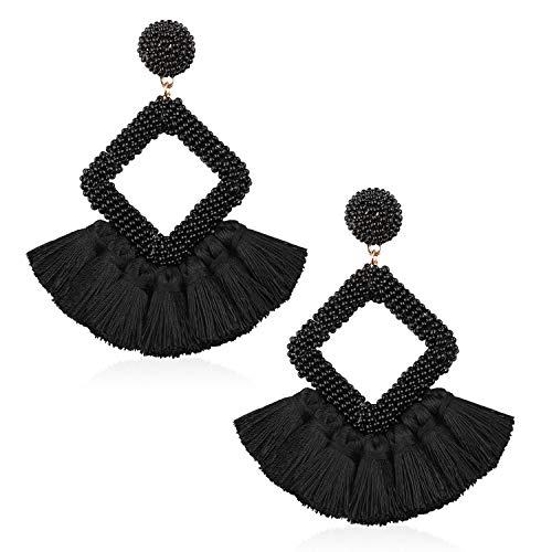 Tassel Bead Statement Earrings for Women Girls Handmade Bohemian Beaded Hoop square Thread Fringe Dangle Trendy Party Studs Jewelry Accessories Gift for Daughter with Gushion Present Box GUE137 Black