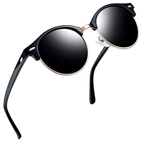 Joopin Semi Rimless Polarized Sunglasses Women Men Retro Brand Sun Glasses (Shiny Black) (Men Sunglasses Round For)