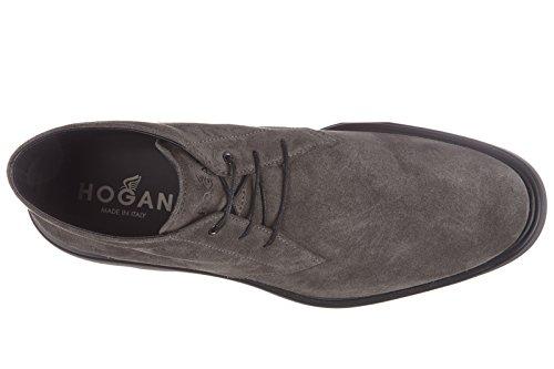 Hogan bottines demi-bottes homme en cuir route derby 2 fori gris