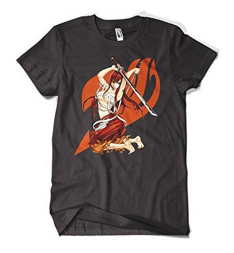 Fairy Tail Anime Erza Orange Men's Cotton Black T-Shirts