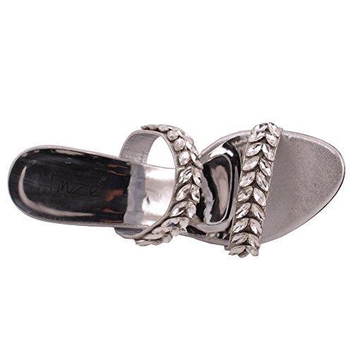 Argento Choco Slittamento Gioiello Formale Donne La Impreziosito Heel Stiletto Punta Aperta Sera Unze Uk Sandals 3 Cinturino Doppio Dimensioni Sul Di 8 Piattaforma Nozze 5xgwKSq