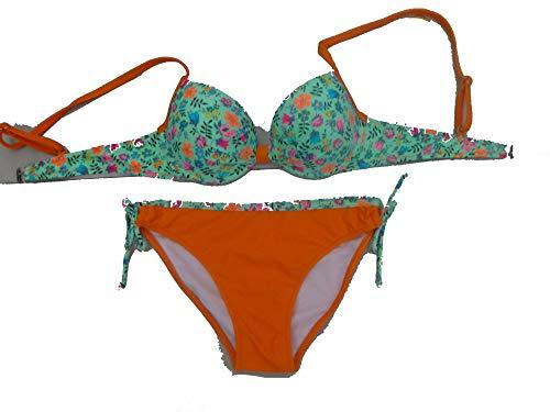 Collocation-Online Sweet Fresh Garden Floral Fashion Stitching Temperament Fight Sexy Plate Bikini,Orange,2XL ()
