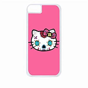 Kitty Sugar Skull- Hard White Plastic Snap - On Case-Apple Iphone 5 - 5s - Great Quality!