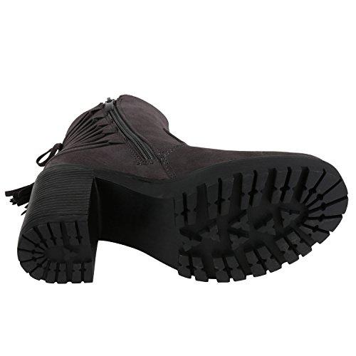 napoli-fashion Damen Stiefeletten Chelsea Boots Blockabsatz Profilsohle Schuhe Jennika Grau