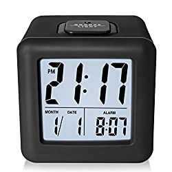 ZHPUAT Digital Alarm Clock with Protective Silicon Cover,Smart Back-light and Calendar,Black