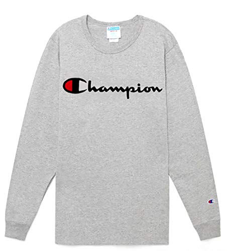 Champion LIFE Men's Heritage Long Sleeve Tee, Oxford Gray w/Embroidered Script, Small