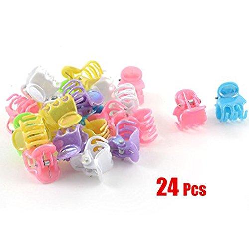 RuiChy 24 Pcs Assorted Color Plastic Mini Hair Clip Claw -