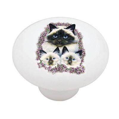 Birman Cats Decorative High Gloss Ceramic Drawer Knob