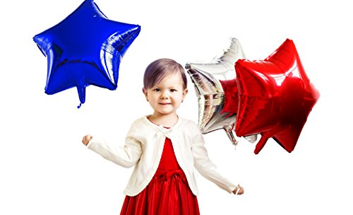 Treasures Gifted Silver Red and Blue Star Foil Balloons 18 Inch Mylar Pack of 12 Party Supplies for Birthday 4th of July USA Patriotic Party Photo - Blue Foil Star