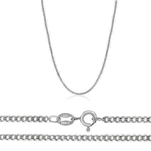 Orostar Sterling Silver 925 Unisex Italian 0.9mm Curb Chain, Sizes 16