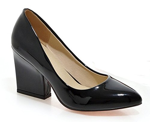 Easemax Womens Fashion Pointed Toe Low Cut Slip On Chunky High Heel Pumps Shoes Black vnXUrPhF