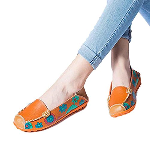 Loafers Shoes,Clearance! AgrinTol New Women Leather Shoes Loafers Soft Leisure Flats Female Casual Shoes (38, Orange) (Fashion Summer New)
