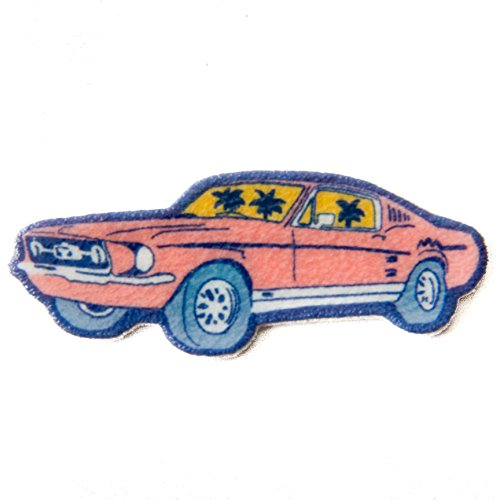 Pink-Retro-Lapel-Pin-of-a-1967-Mustang-Fastback-Car