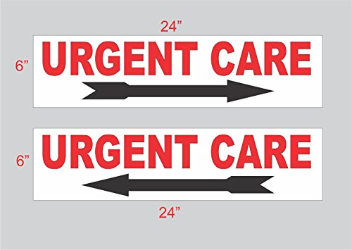 2-6x24 Urgent Care with Arrow Directional Signs Street Road Corner Yard
