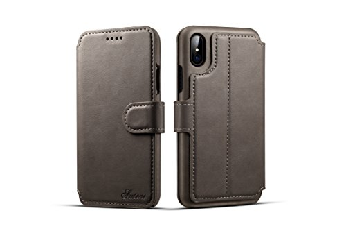 Price comparison product image iPhone X Wallet Case,TACOO Genuine PU Leather Magnetic Closure Protective Kickstand Flip Card Slot 360 Full Protection Flip Cover for Apple iPhone 10 2017 (Grey)