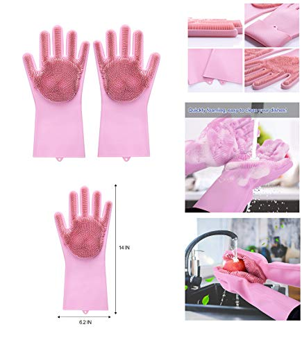 Jolly Gloves Magic Dishwashing Gloves with Scrubber, Silicone Cleaning Reusable Scrub Gloves for Wash Dish,Kitchen, Bathroom (Pink)