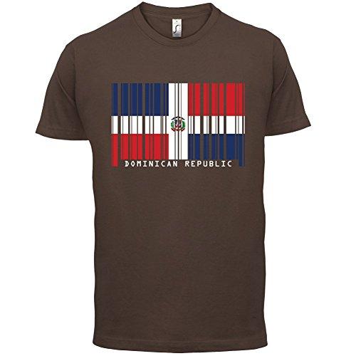 Dominican Republic / Dominikanischen Republik Barcode Flagge - Herren T-Shirt - Schokobraun - XL