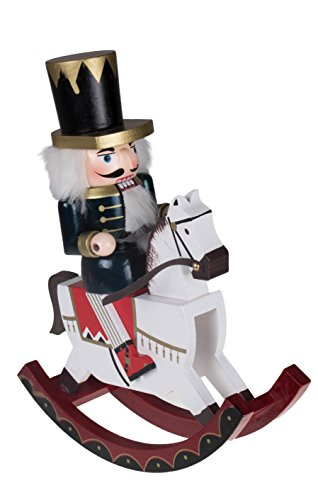 Design Rocking Horse Decorative - Clever Creations Soldier Nutcracker Rocking Horse Collectible Wooden Christmas Nutcracker | Festive Holiday Decor | Riding White Rocking Horse | 100% Wood | 12