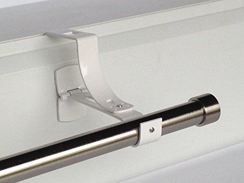 1 support sans perçage GEKO pour tringle à rideaux diamètre 20 mm - Spécial caisson de volet roulant à rainure - Colori : Blanc