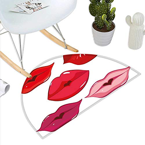 Kiss Half Round Door mat Outdoor Woman Sexy Lip Heart Shape Kiss Female Love Valentine Affection Amour Make Up Half Round Indoor Door mat Red Rose Pink White