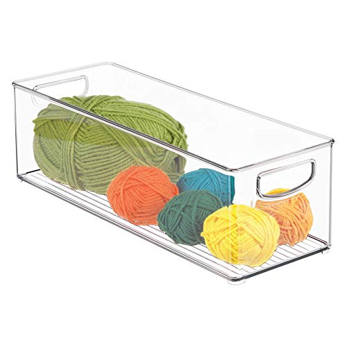(mDesign Stackable Plastic Storage Organizer Bin with Built-in Handles - for Craft, Sewing, Art, School Supplies in Home, Classroom, Playroom or Studio - 16