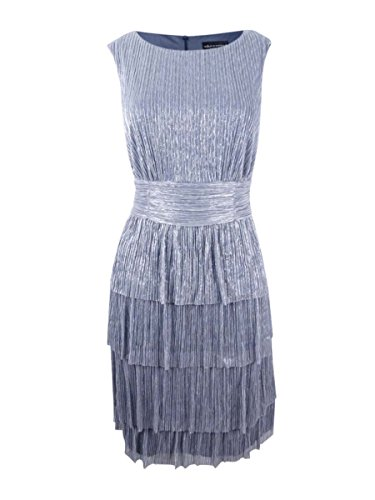 Pleated Tier Dress - Connected Women's Metallic Pleated Tier Dress (10, Grey)