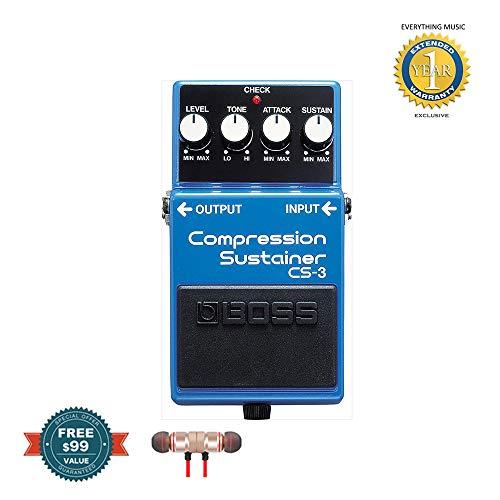 Boss CS-3 Compressor Sustainer Pedal includes Free Wireless Earbuds - Stereo Bluetooth In-ear and 1 Year Everything Music Extended Warranty