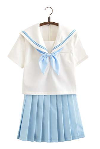 Anime School Girl Outfit (Japanese School Uniform Adult Women, Halloween Sailor Cosplay Costume Outfit Short Sleeve (S))