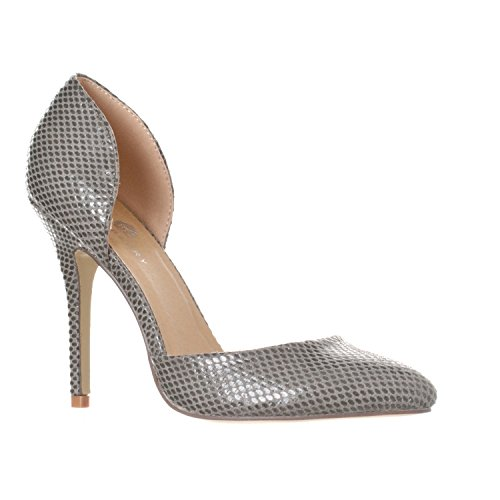 Riverberry Women's Nora Pointed Toe, Slip On D'Orsay Pump Heels, Grey Snake, 8 ()