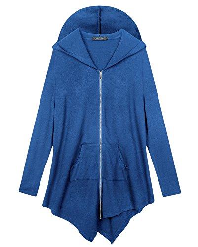Urban CoCo Women's Pluse Size Hooded Sweatshirt Jacket Cape Style (5XL, Royal Blue)