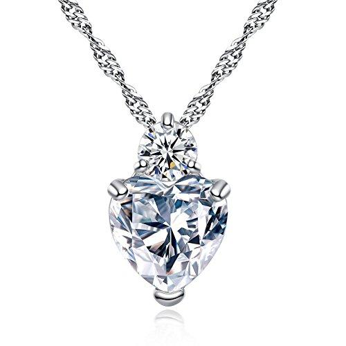 DaoRier 1 pc Cadena de la chica Collar de la señora Colgante de cristal de Wellery Corazón de diamante Silver