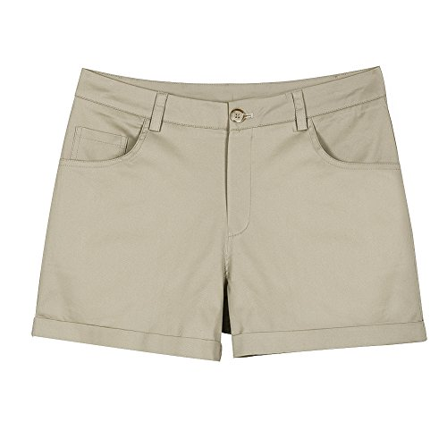 Zenthace Women's Juniors Mid-Rise Stretch Twill Chino Flat-Front Shorts(L,Light Khaki) ()
