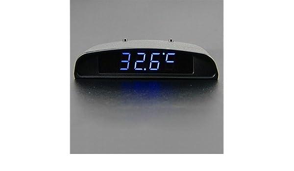 Detector del tiempo de la temperatura y del voltaje del coche, 12V 3 en 1 reloj del coche del voltímetro del termómetro del coche digital Voltaje interior y ...