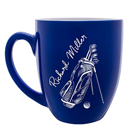 Personalized Golf Mug Customizable with Name Custom Coffee Mug for Golfers |16 oz Large Ceramic 7 Different Color Golf Gifts For Men Father