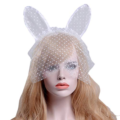 Gerilea White Bunny Ears Hair Bands for Halloween Accessories for Women Lace Veil Masks