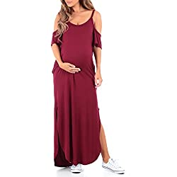 Women's Cold Shoulder Maternity Dress with Pockets by Mother Bee