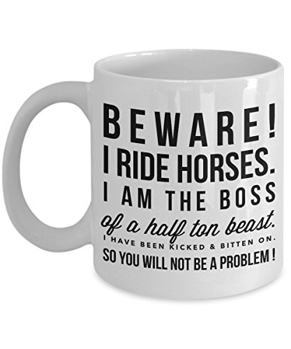 Horse Mom - Beware I Ride Horse-Horse Gifts For Women-Horse Gifts For Horse Lovers-Horse Rider Gifts-Horse Related Gifts-Horse Gifts For Teens-Horse Mug-Horse Coffee Mug-Horse Mug Set-Horse Themed Gifts-YesEcart