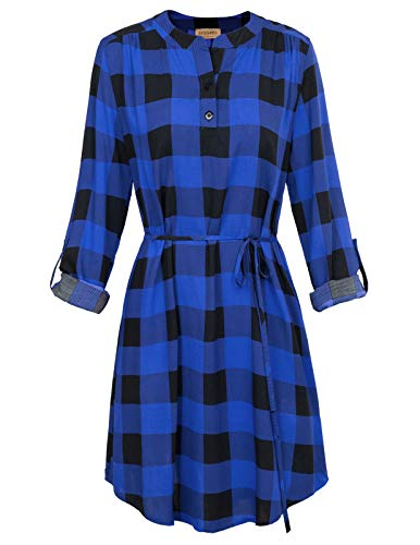 Plaid Shirt Dresses Belted - Women's Plaids Roll Up Long Sleeves Belted Mini A Line Shirt Dress Blue, S