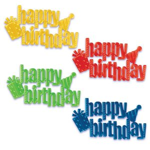 Happy Birthday Pearlized Scripts Decorating Cake Assorted Colors  36 Count