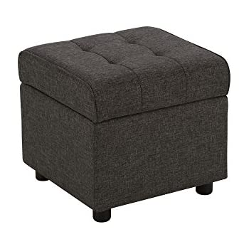 DHP Emily Square Storage Ottoman, Modern Look with Tufted Design, Lightweight, Grey Linen