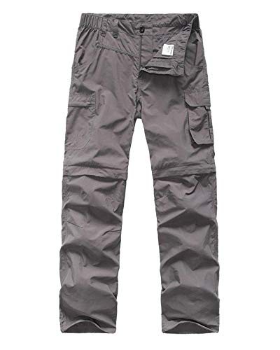 Kids' Cargo Pants, Boy's Casual Outdoor Quick Dry Waterproof Hiking Climbing Convertible Trousers Gray