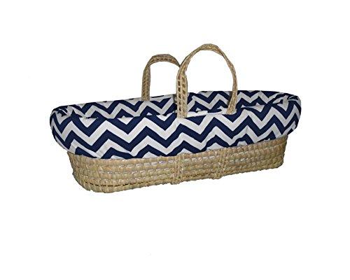 Baby Doll Bedding Minky Chevron Moses Basket, Navy/White from BabyDoll Bedding