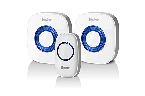 Veetop Wireless Doorbell with 300M/1000 Feet Range, 52 Chimes Tunes Build In, 4 Volume Level, 1 Remote Transmitter Button, 2 Plug-in Receiver, Not Battery Required for Plug-In Receiver(White)