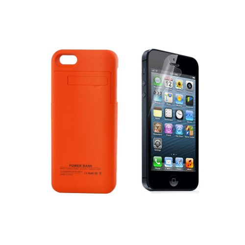 2014 New Arrival RavTech(TM) 2 in 1 Bundles - 2200mAh Orange Portable External Power Pack Backup Battery Charger Case for iphone 5 5s + Clear Screen Protector(Orange)
