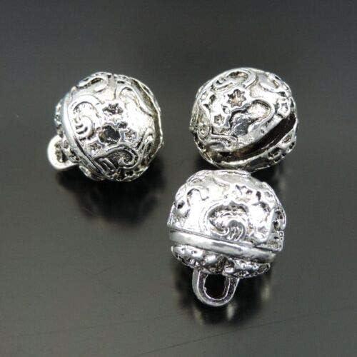 12 12pcs//lot Vintage Silver Brass Jingle Bell Pendant Charms 15 DealShow 12mm 39293 TM