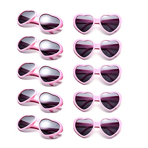 10 Packs Neon Colors Wholesale Heart Sunglasses (Pink)]()