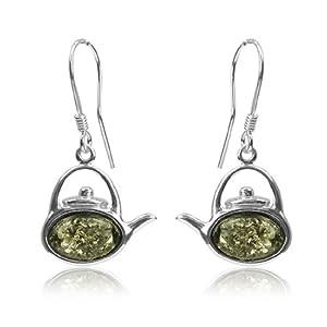Sterling Silver Green Amber Tea Kettle Hook Earrings