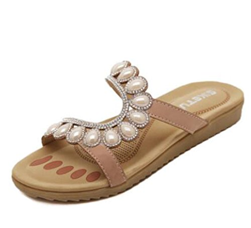 Ohmais Mädchen damen Frauen Flattie Sandalen Flache Schuhe Flops flache Sandalen Sommer mit Perlen Böhmen Aprikose