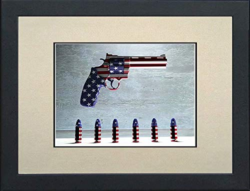 YOMIA 5D DIY Diamond Painting Full Drill Cross Stitch Arts Craft American Flag Pistol and Bullet DrillDiamond Room Decor Rhinestone Paint by Number Kits for Adults