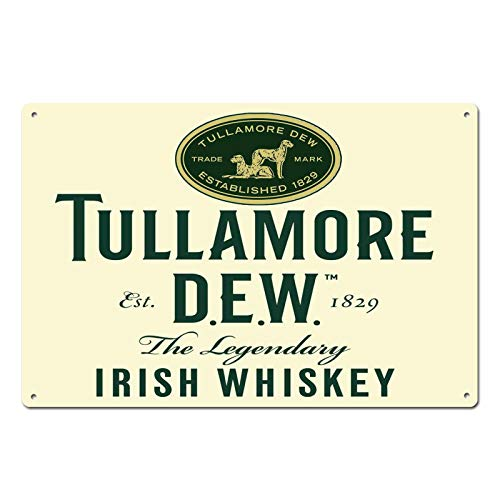 Tullamore Dew Irish Whiskey Established 1829 Tin Sign Metal Sign Door Plaque TIN Sign 7.8X11.8 INCH